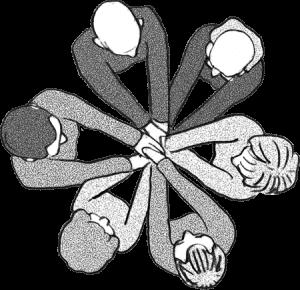 In der Draufsicht sieht man eine Gruppe von Menschen, die sich gegenseitig an den Händen fassen und sich dadurch halt geben.