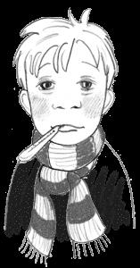 Junge mit Schal um den Hals und Fieberthermometer im Mund