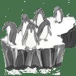 Pinguine am Abgrund einer Eisscholle