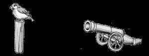 Eine Kanone schießt auf einen Spatz