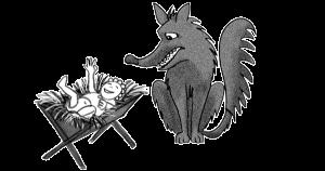 Ein Wolf sitzt neben einer Kleinkindkrippe mit fröhlichem Baby darin