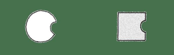 Ein Kreis und ein Rechteck als Symbole für eine Familienaufstellung