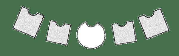 Vierecke und ein Kreis als Symbole für Stellvertreter in einer Familienaufstellung