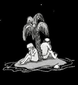 Ein Mann und eine Frau auf einer kleinen Insel mit Palme sitzend