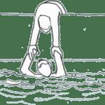Ein Mann zieht eine Person aus dem Wasser