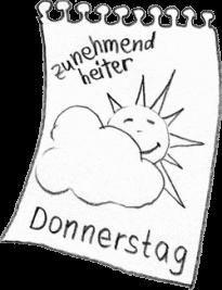 """Ein Kalenderblatt mit lachender Sonne, die hinter der Wolke auftaucht mit dem Text: """"Donnerstag – zunehmend heiter!"""""""