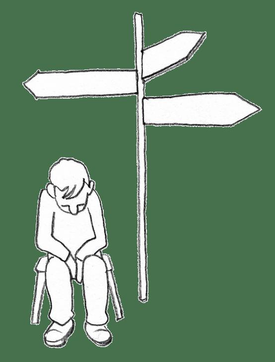 Eine Person sitzt ratlos mit gesenktem Kopf an einer Wegkreuzung mit drei Abzweigen und kann sich für keine entscheiden.