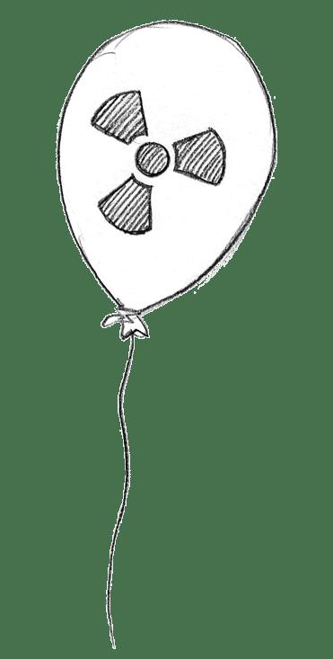 Ein Luftballon mit einem Zeichen für Radioaktivität darauf.
