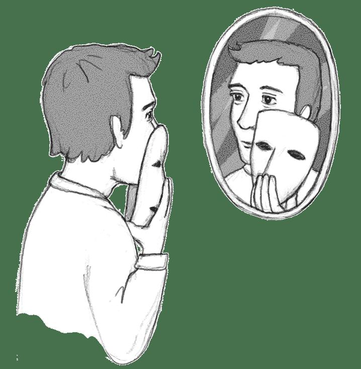 Bild zeigt Mann vor einem Spiegel